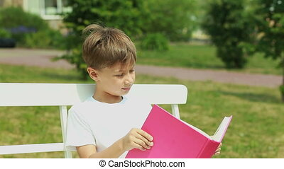Schoolboy on vacation - Young lad reading a book outdoors