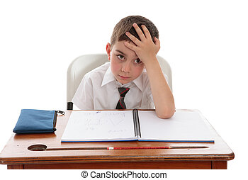 Schoolboy problems learning difficulties - A young school...