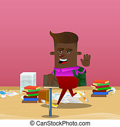 Schoolboy raising his hand and put the other on a holy book. Vector cartoon character illustration.