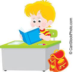 Schoolboy reading - Vector illustration of an elementary...