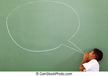 schoolboy shouting at chat box - elementary schoolboy...