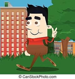 Schoolboy showing the V sign. Vector cartoon character ...