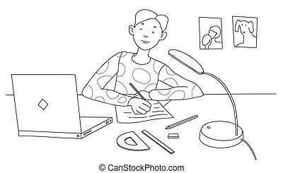 Schoolboy sits at home and studies at a desk with a laptop