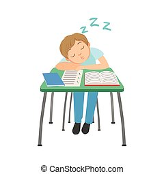 Schoolboy Sitting Behind The Desk In School Class Sleeping On Notebooks Illustration, Part Of Scholars Studying Vector Collection.