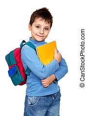 Schoolboy - Smiling schoolboy. Isolated over white...