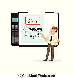 Schoolboy standing in front of an interactive whiteboard with mathematicsc formulas, modern school lesson vector Illustration on a white background
