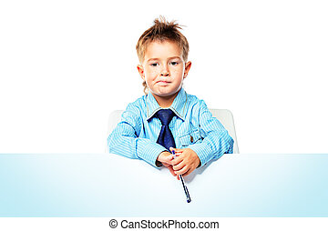 schoolboy - Portrait of a little boy in shirt and tie...