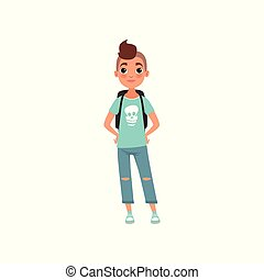 Schoolboy, student of school with backpack, stage of growing up concept vector Illustration on a white background
