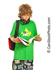 Schoolboy teen reading