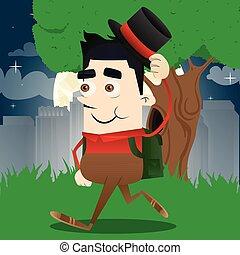 Schoolboy tipping his hat. Vector cartoon character ...