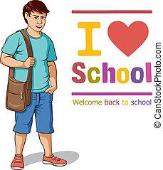 Schoolboy - Vector illustration of a schoolboy