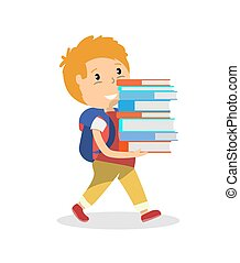 Schoolboy walking and carrying a tall stack of school books