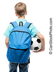 schoolboy with a blue backpack and a football ball back view on a white background