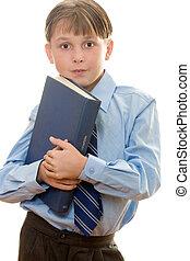 Schoolboy with a book