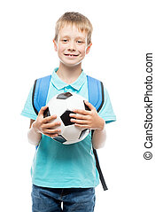 schoolboy with a soccer ball posing in the studio on a white background