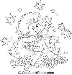 Schoolboy with autumn leaves - Joyful schoolboy throws up...