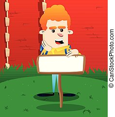 Schoolboy with blank paper on wood.