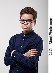Schoolboy with glasses
