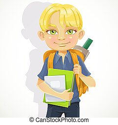Cute schoolboy with textbooks and notebooks backpack