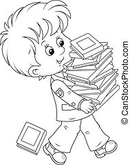 Schoolboy with textbooks - A schoolchild carrying a stack of...