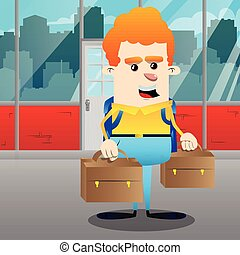 Schoolboy with two suitcase. Vector cartoon character illustration.