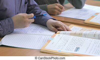 Schoolboy writes the text in the copybook indoors - The...