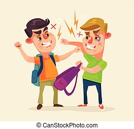 Schoolboys characters fighting. Vector flat cartoon illustration