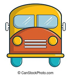Schoolbus icon, cartoon style