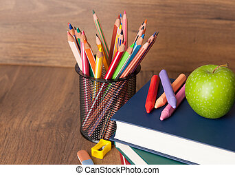 Schoolchild and student studies supplies. Back to school concept