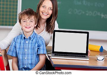 Schoolchild and teacher