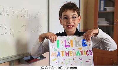 Schoolchild showing like