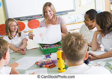 Schoolchildren and their teacher in an art class