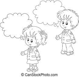 Schoolchildren answer in class - Schoolgirl and schoolboy...