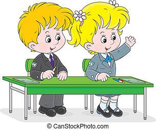 Schoolchildren answering a question - Schoolgirl and...