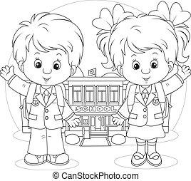 Schoolchildren before a school - Schoolgirl and schoolboy...