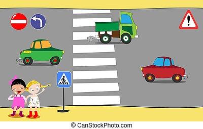Schoolchildren cross road on pedestrian crossing in downtown, near school. Vector illustration.
