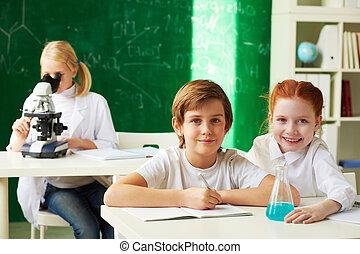 schoolchildren, em, lição