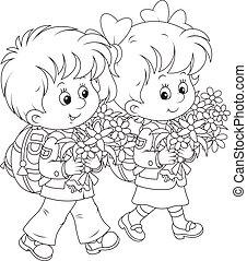 Schoolchildren going to school - A little schoolgirl and a...