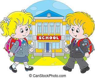 Schoolchildren going to school - Schoolgirl and schoolboy...