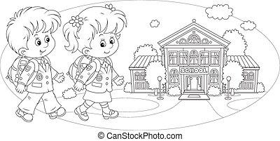 Schoolchildren going to school - Schoolgirl, schoolboy and...