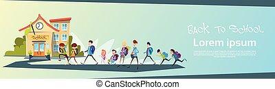Schoolchildren Group Go Back To School Education Banner Flat...