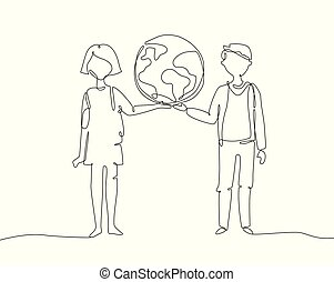 Schoolchildren holding a globe - one line design style illustration