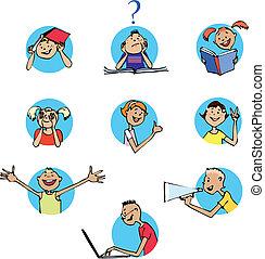 Schoolchildren icons - Cartoons of children