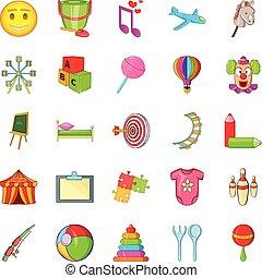 Schoolchildren icons set, cartoon style