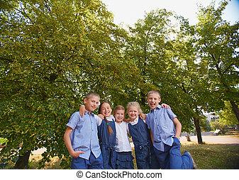 Schoolchildren in park
