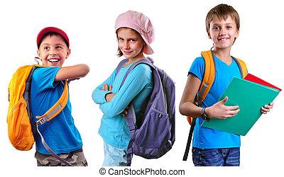 schoolchildren of grade school with backpack and books -...