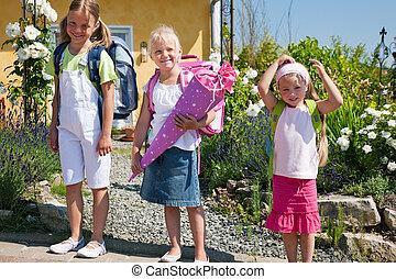 Schoolchildren on their way to school