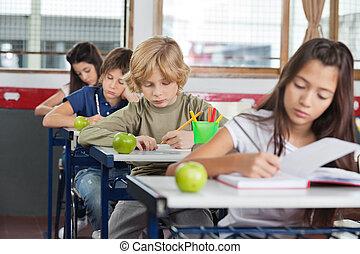 Schoolchildren Studying At Desk