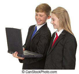 Schoolchildren with a computer