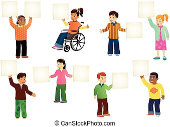 Schoolchildren with blank signs - Eight different children...